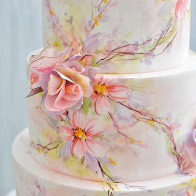 Svadbene torte-Pastelno slikano cvece