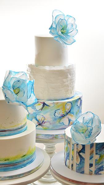 Svadbene torte-kompozicija sa plavim