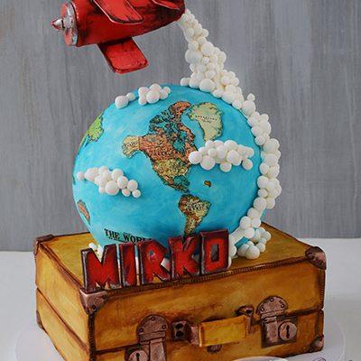 Decije torte Kofer sa zemaljskom kuglom