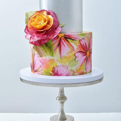 Rodjendanske torte Rucno slikano cvece i Wafer cetovi
